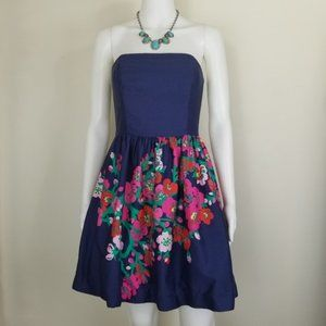Lilly Pulitzer Lottie Dress Navy Floral Sz 2